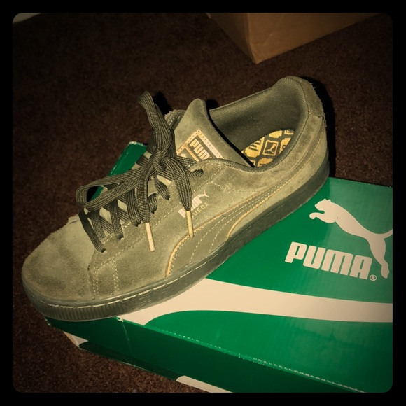 save off 1a45d 318d6 Puma suede foil FS olive night- gold's